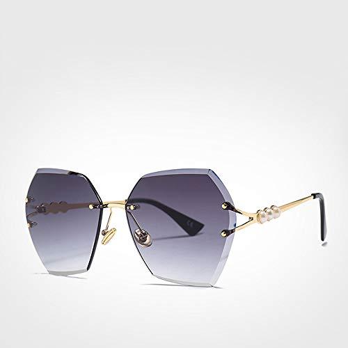 ZHANGZH Quadrat randlose Perle Sonnenbrille Frauen Farbverlauf Polygon Sonnenbrille weiblich