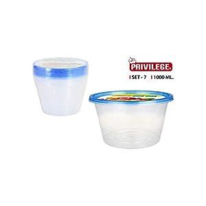 Privilege- Set 7 Semidesechables Redonda, 1000 ml, Multicolor (49791)