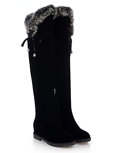 57579bfa441 Hooh Womens Boots Thigh High Over The Knee Snow Boots Flat Faux Suede Lace Warm  Winter Riding Boots - £31.99