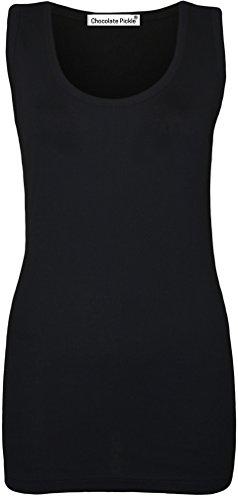 Nouveau Taille Femmes plus néon fluorescent Couleur nervures équipée de gilet de hauts 42-56 Black
