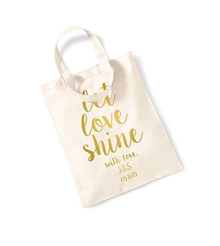 Let Love Shine - Personalised Name/Date - Small Canvas Fun Slogan Tote Bag Natural/Gold