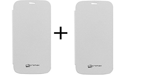 Combo of 2 Micromax Unite A092 compataible Premium Quality Flip cover (White and white)
