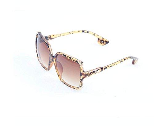 GSHGA Sonnenbrille Art Und Weise Großer Kasten Retro Goldschmuck Männer Und Frauen Gezeitengläser,Leopardtea
