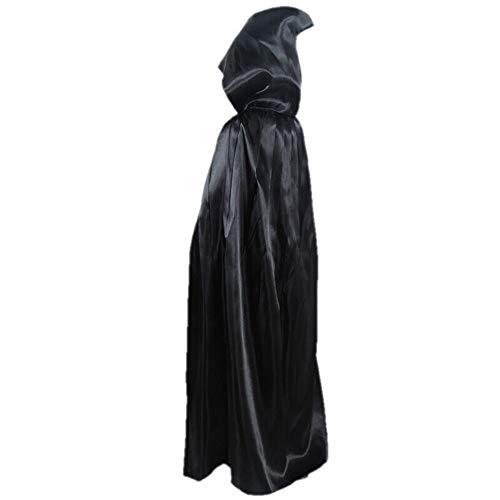 WANCR Halloween Dress up Kostüm, Satin Umhang, Umhang, Kind, Schwarz, 1Meter