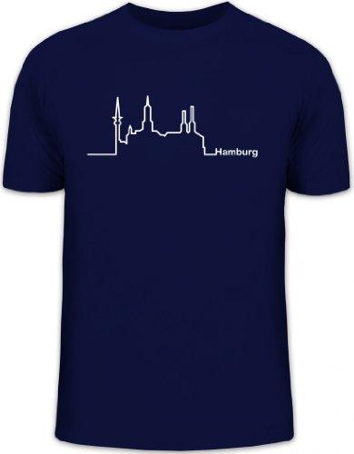 Shirtstreet24, Skyline Hamburg, Herren T-Shirt Fun Shirt Funshirt, Größe: M,dunkelblau