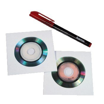 Hama 8cm/Mini-CD/Mini-DVD Paper Sleeves 25, white