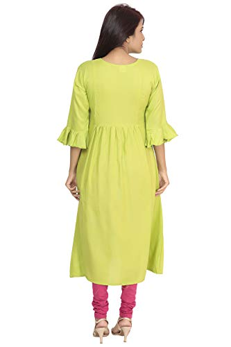 South India SHOPPING MALL - Hosh Women Parrotgreen Reshamembriodery Kurti