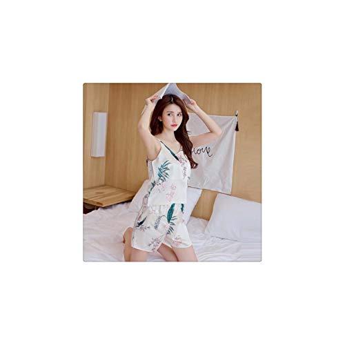 tti Strap Cami Top + Shorts Pajamas Sets Sexy Summer Sleeveless Print Pajamas Set B M ()