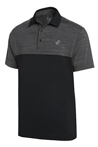 Jolt Gear Dri-Fit Golf Shirts für Männer-Feuchtigkeitstransport Kurzarm Polo Shirt, Herren, Black on Black, Small - Knit Black Slate