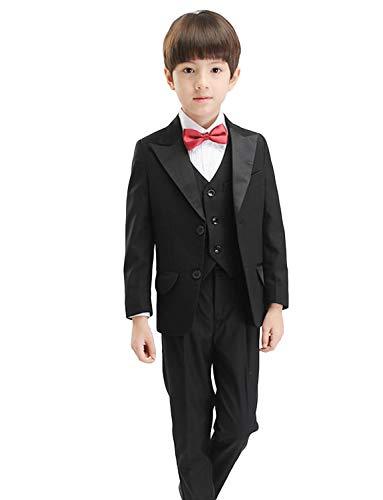 Peak Revers Blazer (YYI Jungen 3 Stück Anzug Peak Revers Formelle Hochzeit Business Zwei Tasten Jacke Weste Hose)