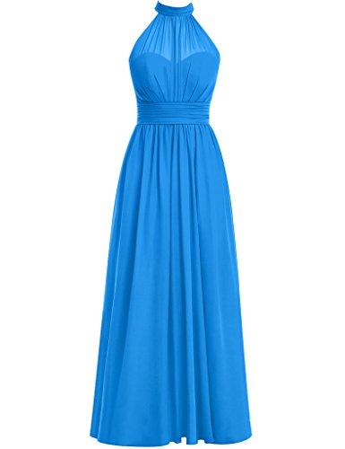 HUINI Damen Modern Kleid Ocean_Blue