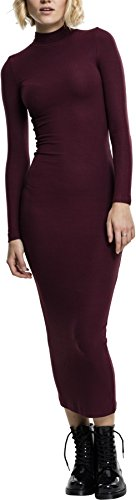 Urban Classics TB1710 Damen Kleid Ladies Long Turtleneck Dress Cherry, XS
