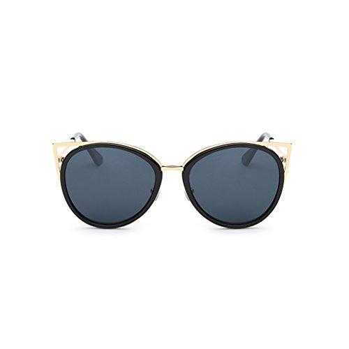 QHGstore Signora Women Nuova UV400 occhiali da sole della struttura del metallo esterna Eyewear degli occhiali grigio
