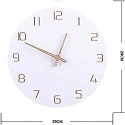 Aoligei Reloj De Pared Estilo NóRdico Relojes De Pared Silenciosos Simples Y De Moda para DecoracióN del Hogar Tipo Blanco Puro DiseñO Moderno De Cuarzo