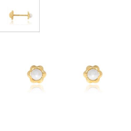 Monde Petit T1654P - Pendientes de bebe/niña oro 18 kts. de perla margarita
