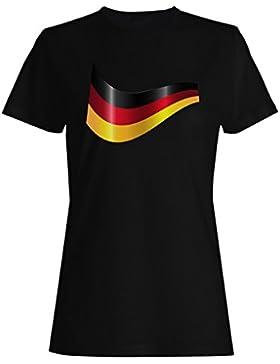 Nueva Alemania Cinta Bandera camiseta de las mujeres l270f