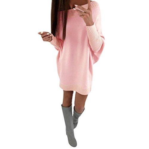 Tank Kleid Pink (Longra Damen Winter Herbst Strickkleid Longpullover mit Rundhalsausschnitt Langarm Basic Kleider Knielang Frauen Stricksweat Strickpullover Sweatkleid (M,)