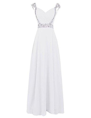 Fanciest Women's Cap Sleeve Beaded Chiffon Bridesmaid Dresses Long Prom Gowns Ivory