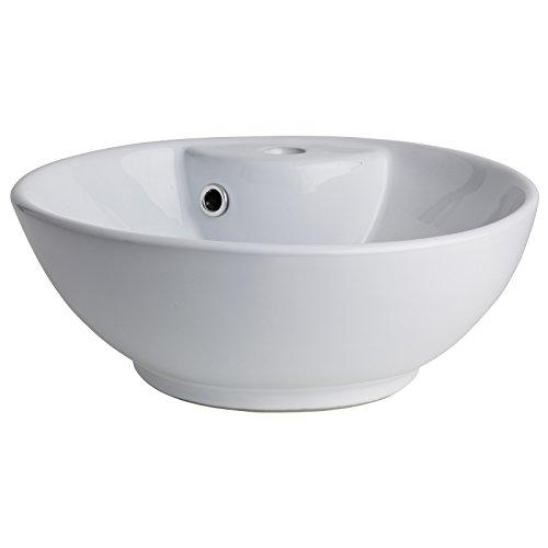 Vasque à poser ronde et fine en porcelaine blanche