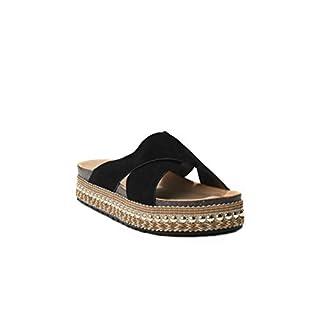 HERIXO Damen Schuhe Slippers Pantoletten Metallic Verzierung Nieten überkreuzt Plateau-Sohle hohe Sandalen Wildlederimitat Leoparden-Muster Kreuzband (40 EU, Black 6)