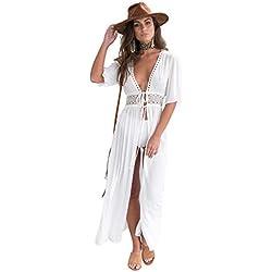 Cardigan Etnico Mujer Chaqueta Manga Murcielago Bohemio Hippie Chic Kimono Playa Largo Caftan Abieto Kaftan Africano Camisolas y Pareos Mandala Capo Piscina Ropa Hawaiana Traje de Baño Bikini Cover Up