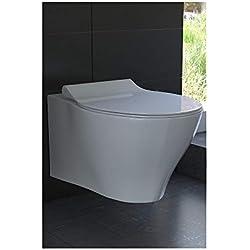 Spülrandloses Hänge WC Keramik Toilette ohne Spülrand inkl. Duroplast WC-Sitz mit Soft-Close / Quick Release Funktion passend zu GEBERIT