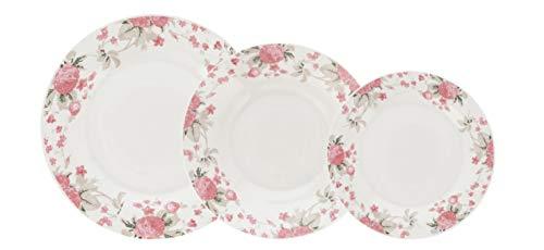 Quid VERA Vajilla de porcelana Barata para 6 personas, 18 piezas, Blanca con ala decorada floral,