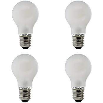 Sebson 4X RA95 + Flicker Free, E27 Bombilla LED 8W, Calido Blanca 2700K, Equivale de 50W