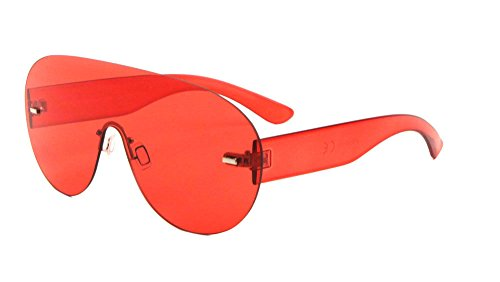 81e36cdfdd Aspen Rimless Mono One Piece Shield Sunglasses (Red Transparent Frame
