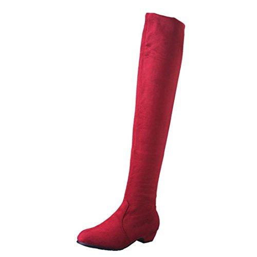 n Winter Frau Flache Stiefel Herbst Schuhe Mode Mädchen Dicke Stiefel Warme Schuhe Slouchy Stiefelf Hohes Bein Schuhe Wildleder Lange Stiefel (37, Rot) ()