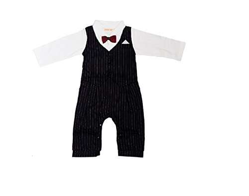 Kidslounge Baby Boy long sleeve black romper with bow gentleman party jumpsuit without hat (12-18)