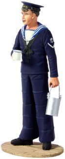 W Britain 13005 - British Royal Navy Sailor with Rum Rations, 1940's 1/32 Scale Collectible Toy Soldier 1/32 Scale Hand Painted Metal Figure by W. Britain