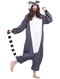Kigurumi Pijama Animal Entero Unisex para Adultos con Capucha Cosplay Pyjamas Lemur Ring-Tailed Ropa