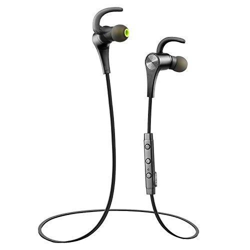 SoundPEATS Q12 Bluetooth Kopfhörer Sport Headset Verbesserte Version Bluetooth 4.1 Magnetisch Aptx Technologie mit Mikrofon Fernbedienung in-Ear Stereo Ohrhörer für iphone8 / 8plus / iphonex , Smartphone , Tablet , Laptop , usw-(Schwarz)