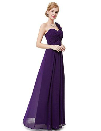 One-shoulder-kleid (Ever Pretty Damen Blumen One Shoulder Chiffon Maxi Abendkleider Größe 36 Dunkel Violett)