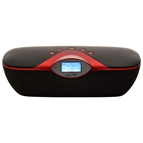 OSCAR OSC-180GDP 2.0 Portable Bluetooth Speaker with, FM, USB, Remote (Black_Red)