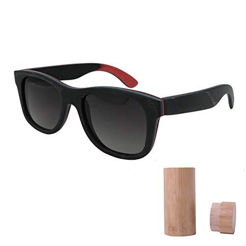 OOFAY Bambus-Sonnenbrille Für Herren Damen, Holz Polarisierte Sonnenbrille Mit Holzkiste UV400 Geeignet Für Reisen Strand Einkaufen,C