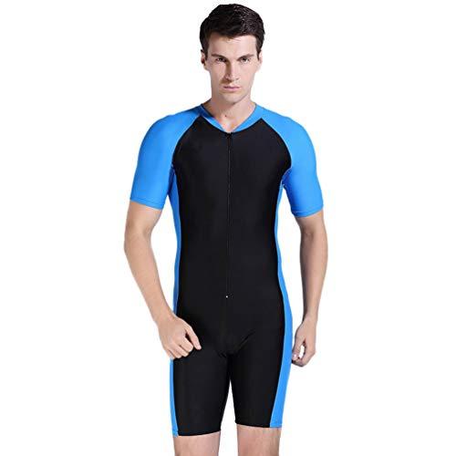 YuanDian Herren Damen Schwimmanzug UV-Anzug Tauchen Schutzkleidung Sunsuit UV Schutz Badeanzug Shorty Tauchanzug Kurzarm Surfen Sonnenschutz Windsurf Wetsuit Neoprenanzug Schwarz + Blau 2XL