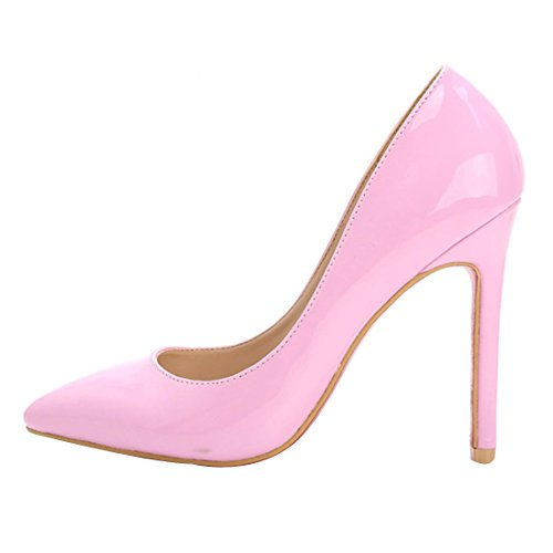 HooH Femmes Cuir Verni Simple Ballroom Escarpins Rose
