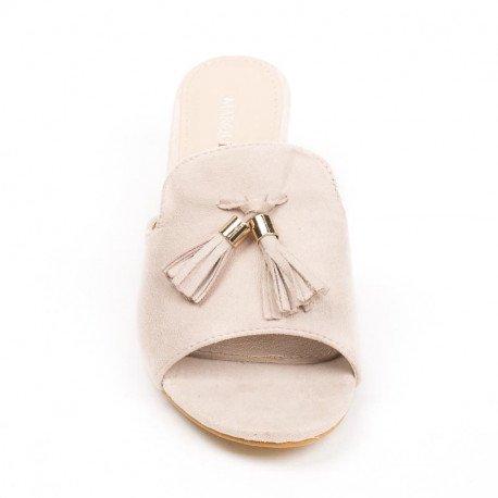 Ideal Shoes - Mules effet daim à talon carré et franges Suzanne Beige