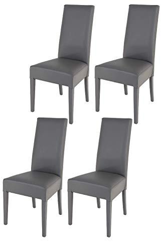 Tommychairs chaises de design - Set de 4 chaises modernes LUISA pour la cuisine, bar et la salle à manger, avec une structure en bois de hêtre et une assise en cuir artificiel gris foncé