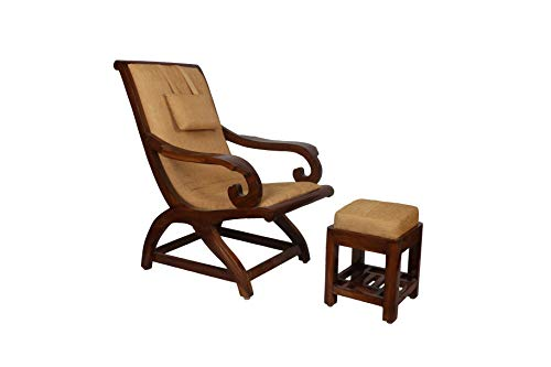 Adele by Riyo Moda® Teak Wood Cushioned Relaxing Accent Arm Chair with Foot Rest