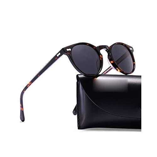 Sport-Sonnenbrillen, Vintage Sonnenbrillen, Polarized Sunglasses Classical Brand Designer Gregory Peck Vintage Sunglasses Männer WoMänner Round Sun Glasses 100% UV400 5288 Round for Lens 46mm Tortoise