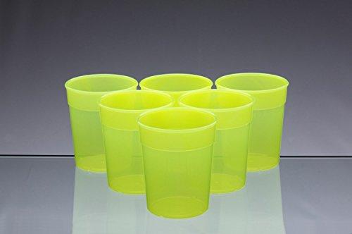 Passe au lave-vaisselle empilables en plastique jaune fluo Tasses/Gobelets/Verres 250 ml (Lot de 6)