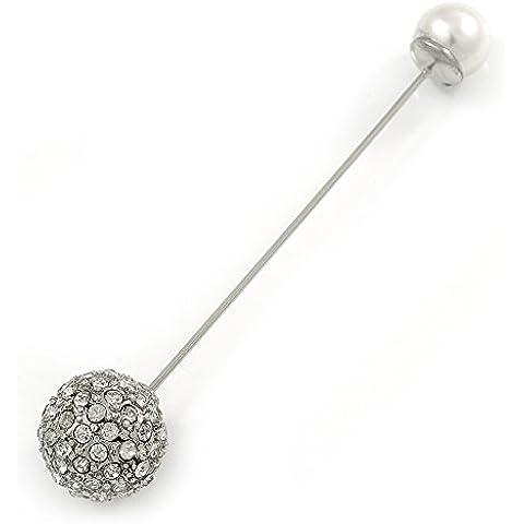 Vintage bola de cristal, Pearl, gorro de solapa, traje, Esmoquin, perchero de pared de cuello, bufanda, Stick broche en plata tono metal–80mm L