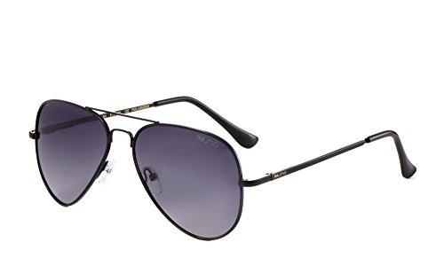 Miuno® Sonnenbrille Polarisiert Polarized Herren Damen Geschenkbox & Brillentuch Federscharnier 3025 Schwarz (Schwarzgetönt)