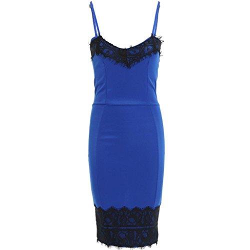 Fast Fashion Damen Midi-Kleid Ärmelloses Spitzenbesatz Boobtube Stil Bodycon