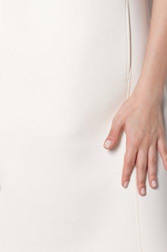 Robe Figl en tissu de mousse coupe évasée décolleté profond Ecru