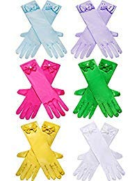 Zhanmai 6 Paare Mädchen Satin Handschuhe Princess Dress Up Bows Handschuhe Lange Formale Handschuhe für Party, Alter 3 bis 8 Jahre (Farbe 2)