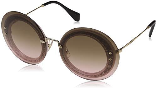 Miu Miu Damen 0MU10RS UEU1E2 64 Sonnenbrille, Transp Fabric SIL/Pink Grey